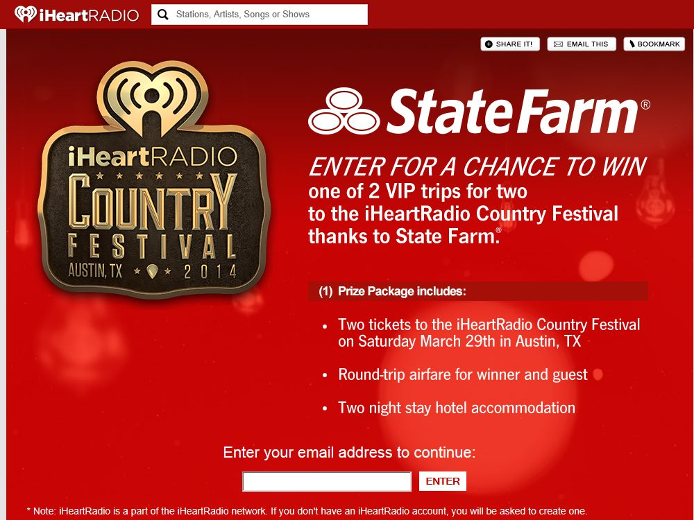 """State Farm """"get to a better State"""" iHeart Radio Country Festival VIP Trip Giveaway"""