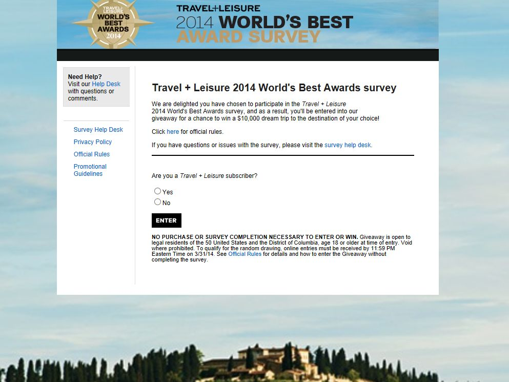 Travel+Leisure World's Best Awards Giveaway
