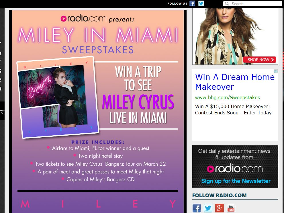 Miley in Miami Sweepstakes