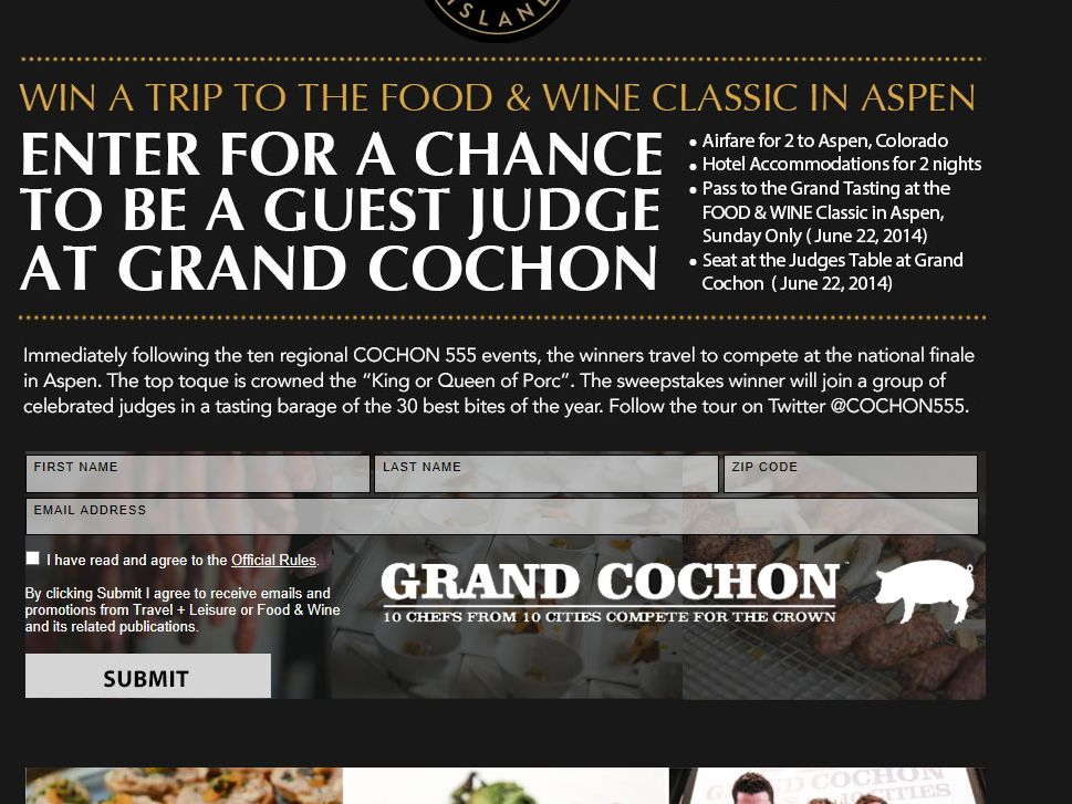 Fly to Aspen as a Guest Judge at Grand Cochon Giveaway
