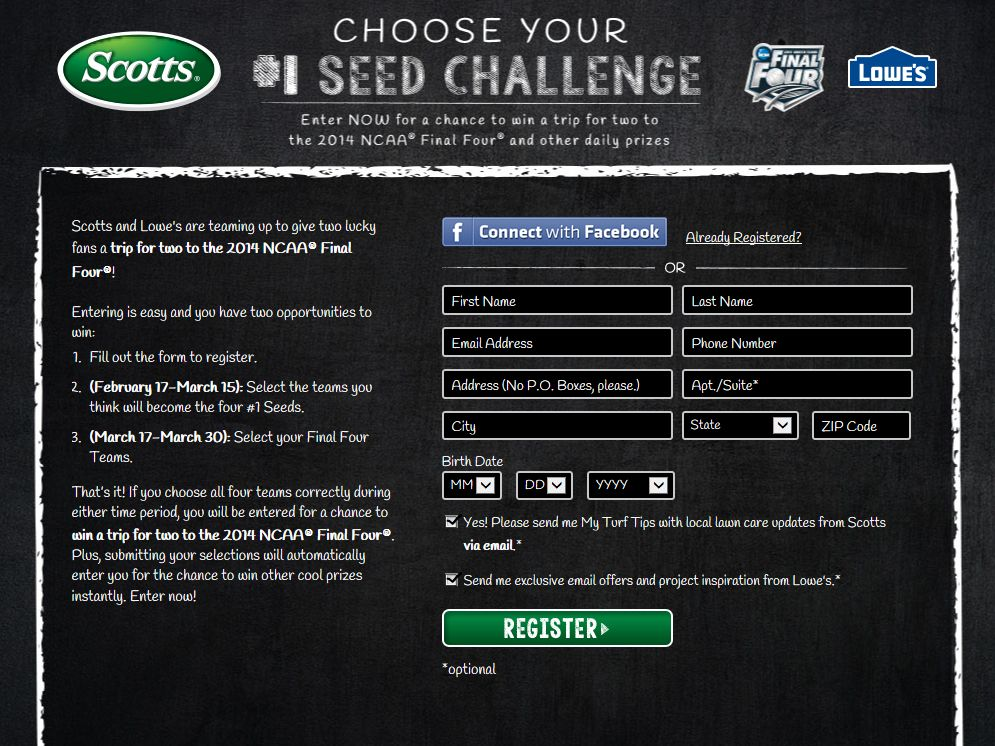 Choose Your #1 Seed Challenge Sweepstakes