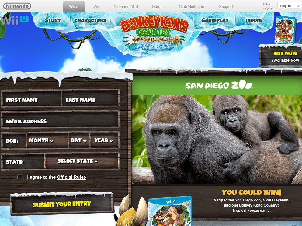 Donkey Kong Country: Tropical Freeze the San Diego Zoo Sweepstakes