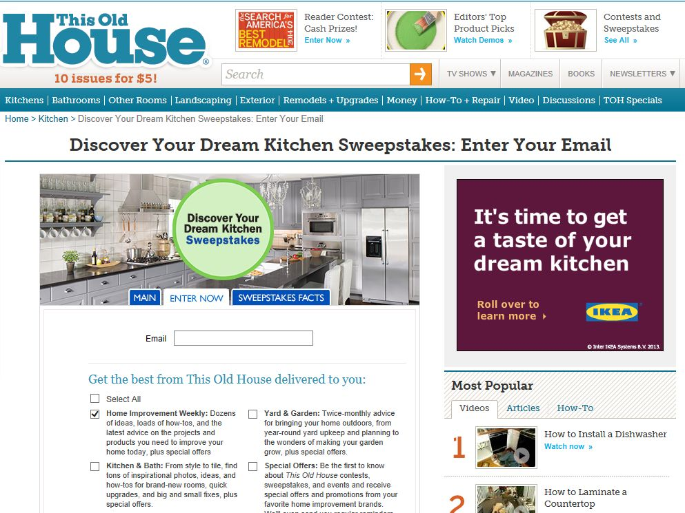 """This Old House """"Discover Your Dream Kitchen"""" Sweepstakes"""