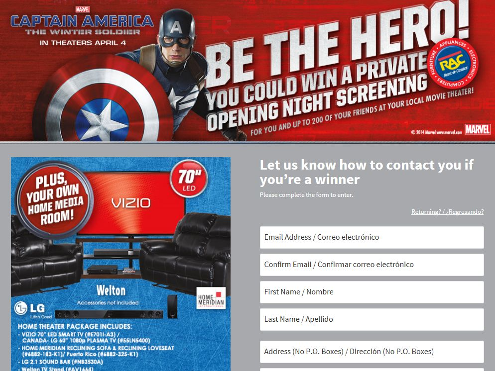 Rent-A-Center Marvel Sweepstakes