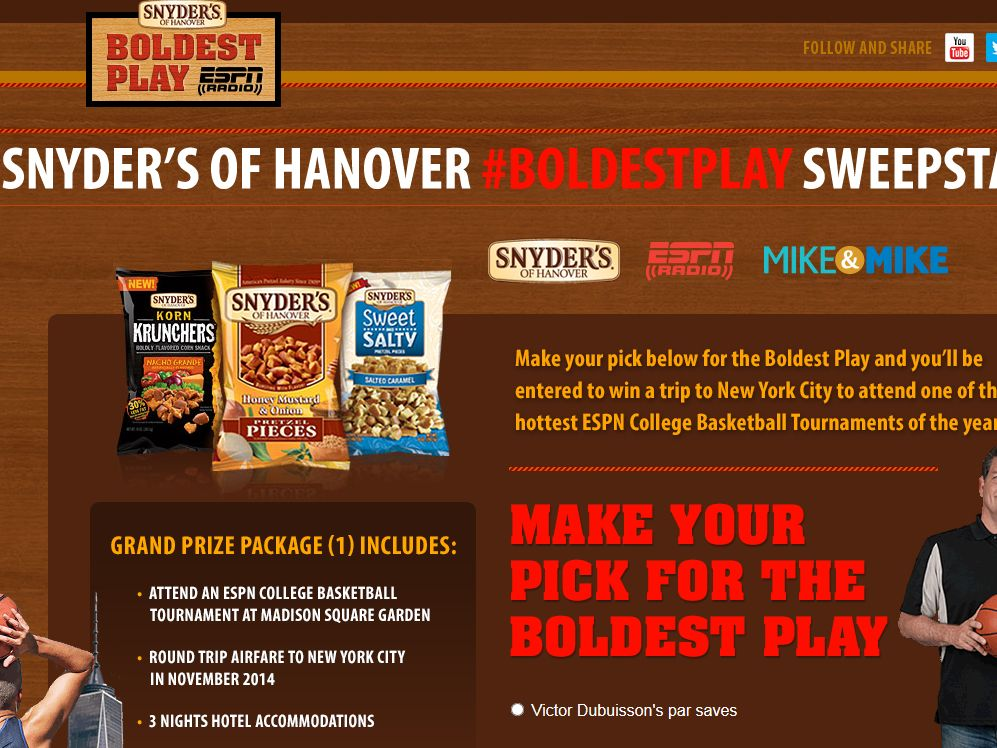 Snyder's of Hanover Boldest Play Sweepstakes