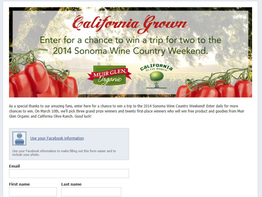 Muir Glen California Grown Sweepstakes