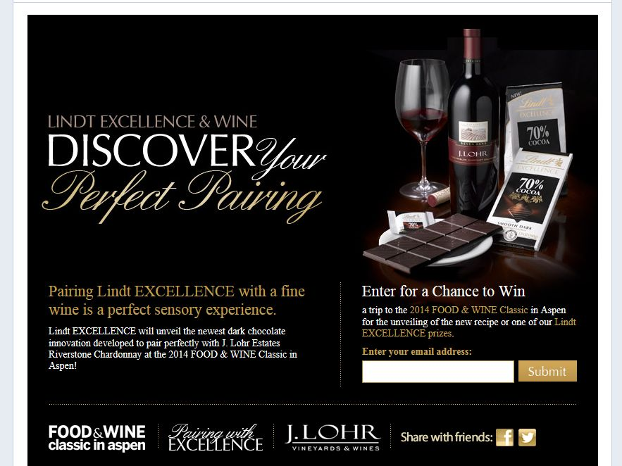 Lindt EXCELLENCE Discover Your Perfect Pairing Sweepstakes
