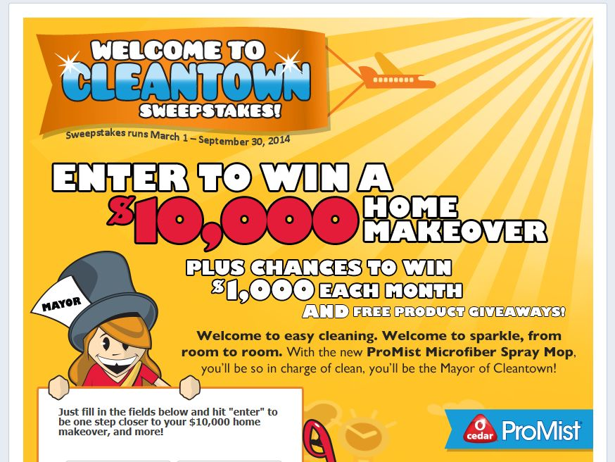 O-Cedar ProMist Welcome to Cleantown Sweepstakes