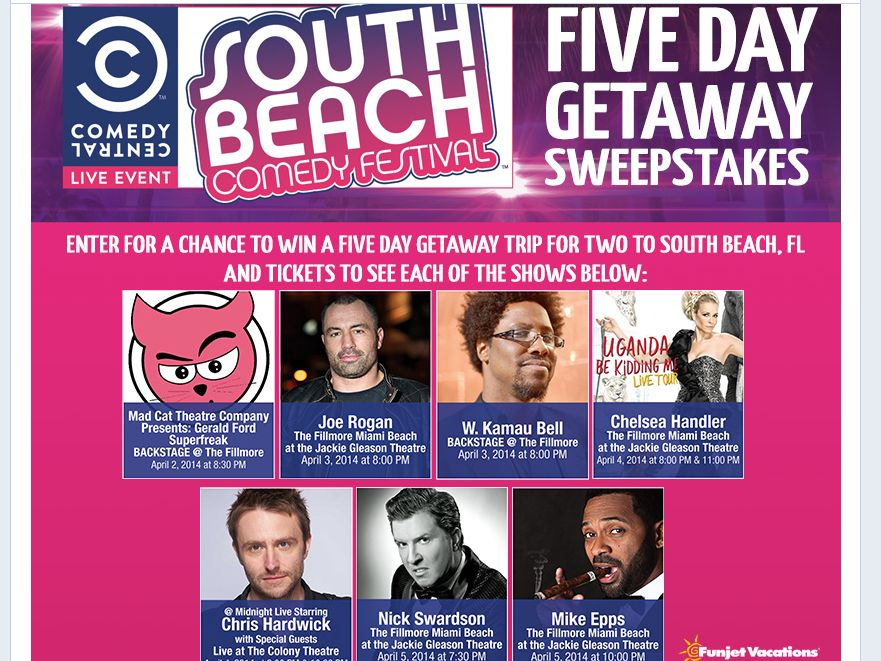 South Beach Comedy Festival Five Day Getaway Sweepstakes