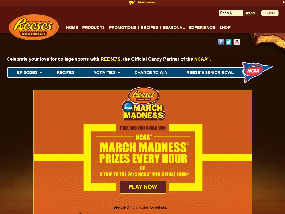 Reese's/NCAA March Madness/Make the Crowd Go Wild Sweepstakes