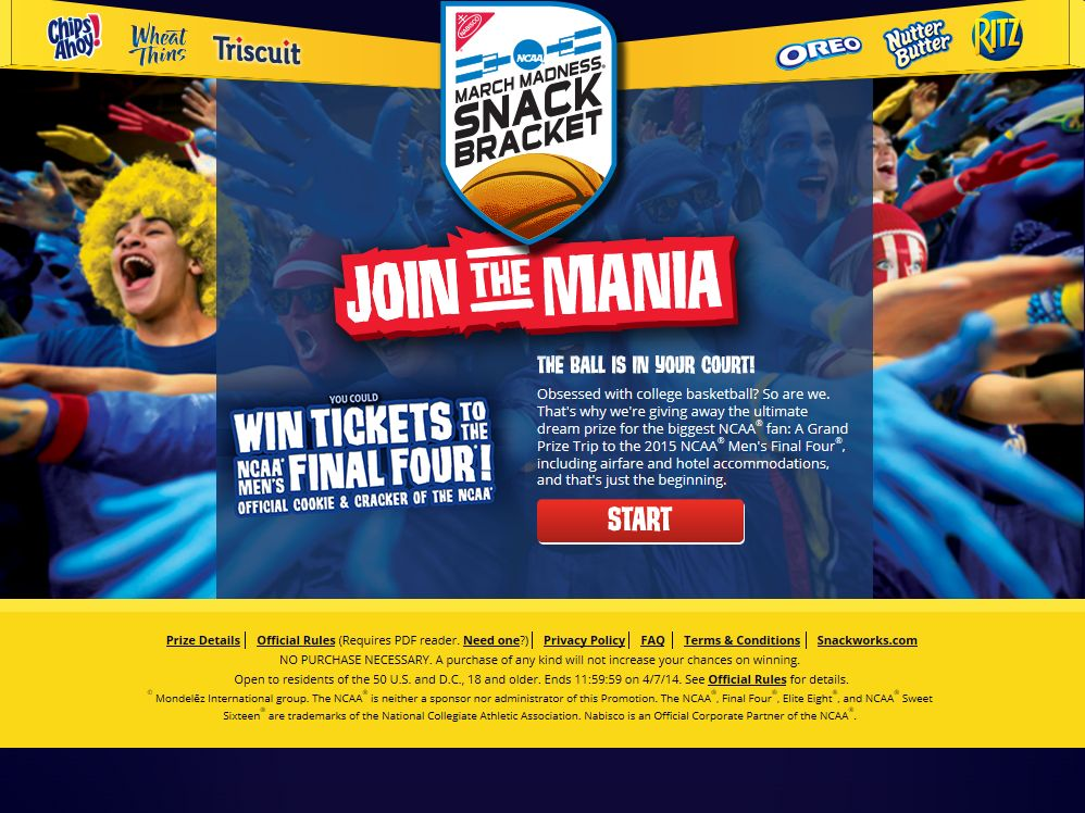 Nabisco NCAA Snack Bracket Sweepstakes