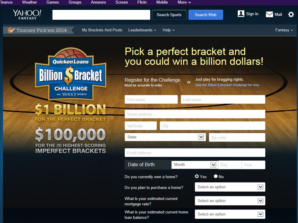 Yahoo bracket billion