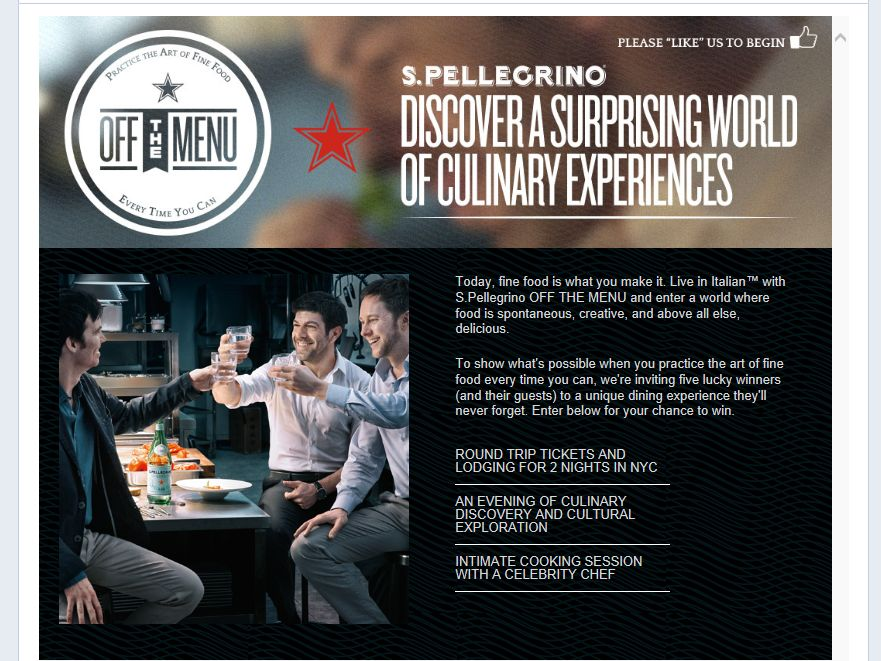 S. PELLEGRINO Sparkling Natural Mineral Water Off The Menu Sweepstakes