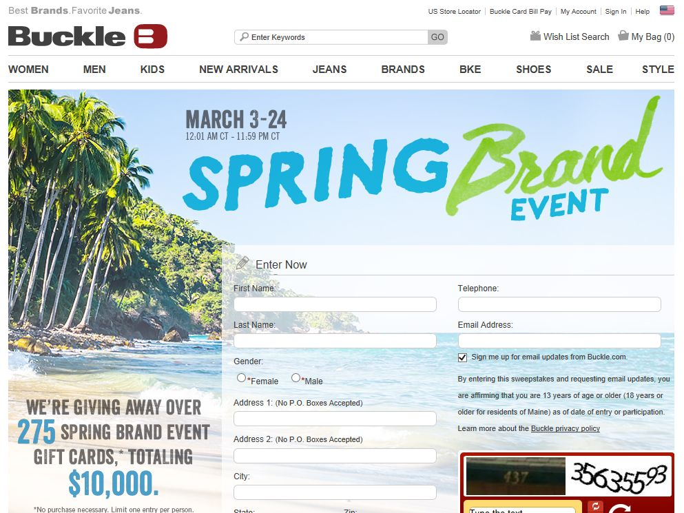 Buckle Spring Brand Event Sweepstakes