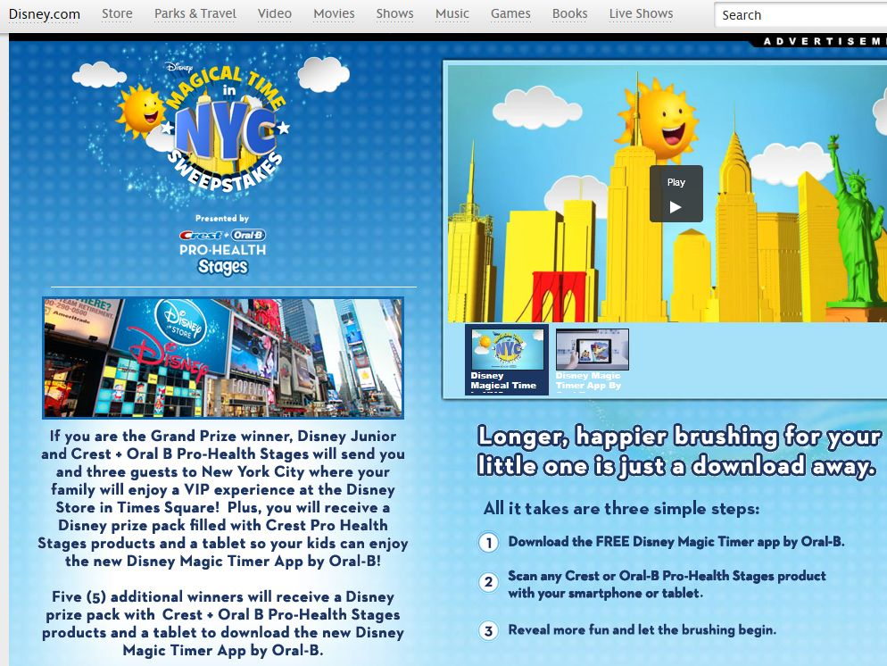 Disney Magical Time in NYC Sweepstakes