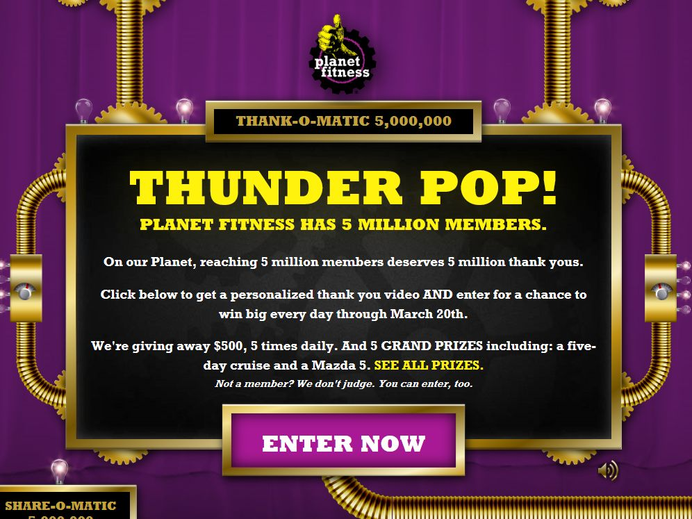 Planet Fitness 5 Million Thank Yous Sweepstakes