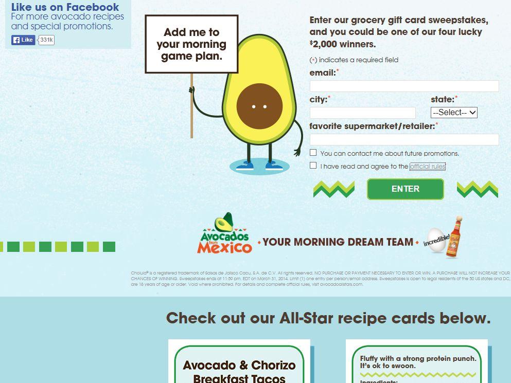 Avocados Winning Breakfast Sweepstakes