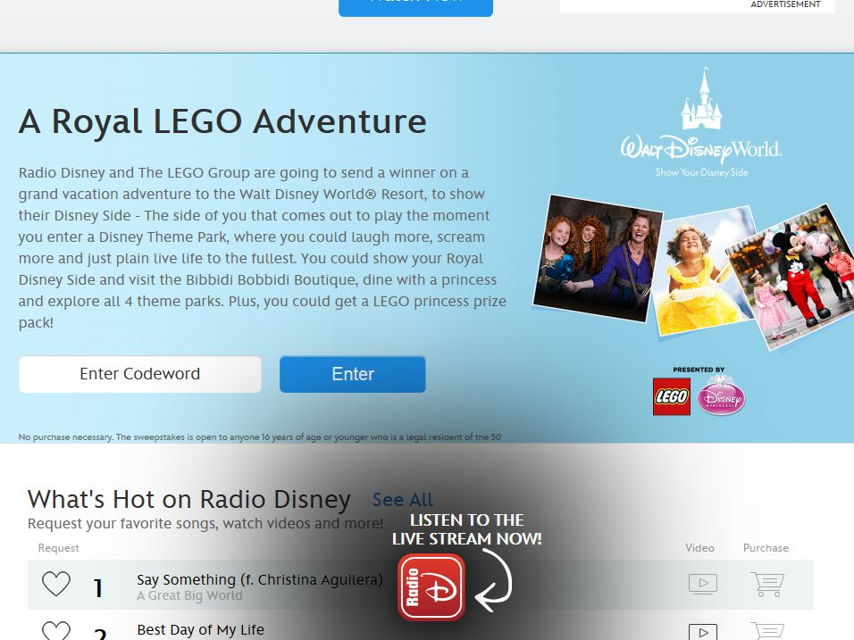 Disney.com Royal LEGO Adventure Sweepstakes – Code Required