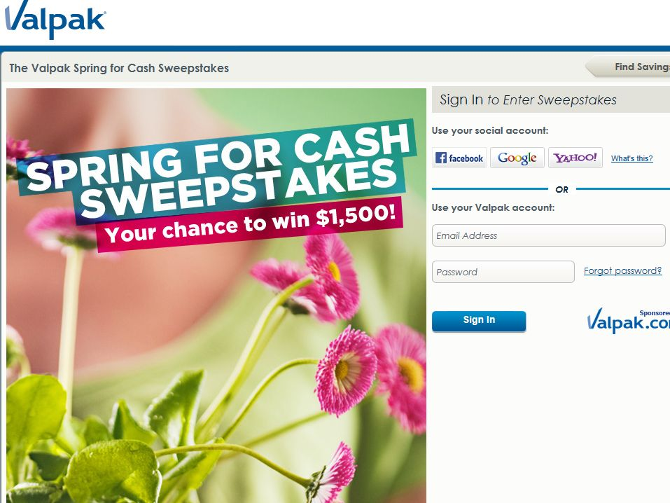 Valpak Spring for Cash Sweepstakes