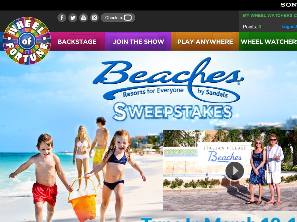 Wheel of Fortune Beaches Resorts Sweepstakes