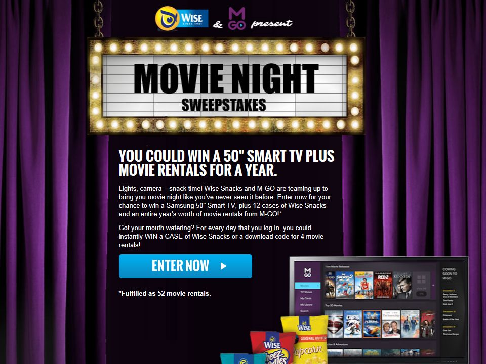 Wise Snack & MGO present: Movie Night Sweepstakes