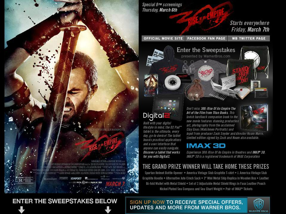300: Rise Of An Empire Sweepstakes