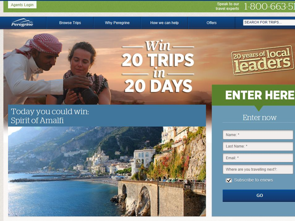 Peregrine 20 Trips in 20 Days Sweepstakes