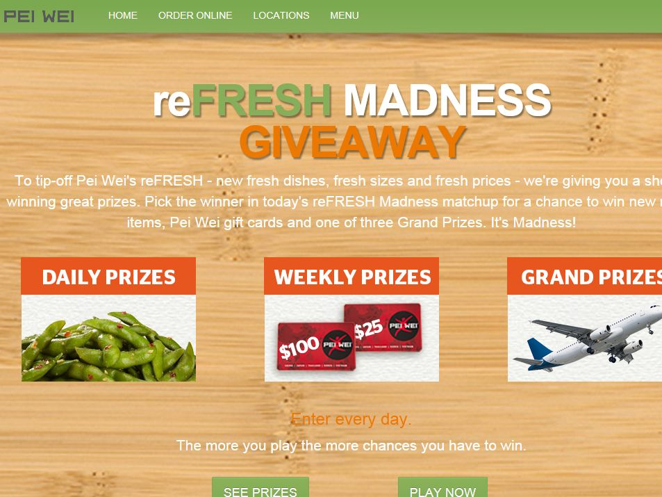 Pei Wei Refresh Madness Giveaway