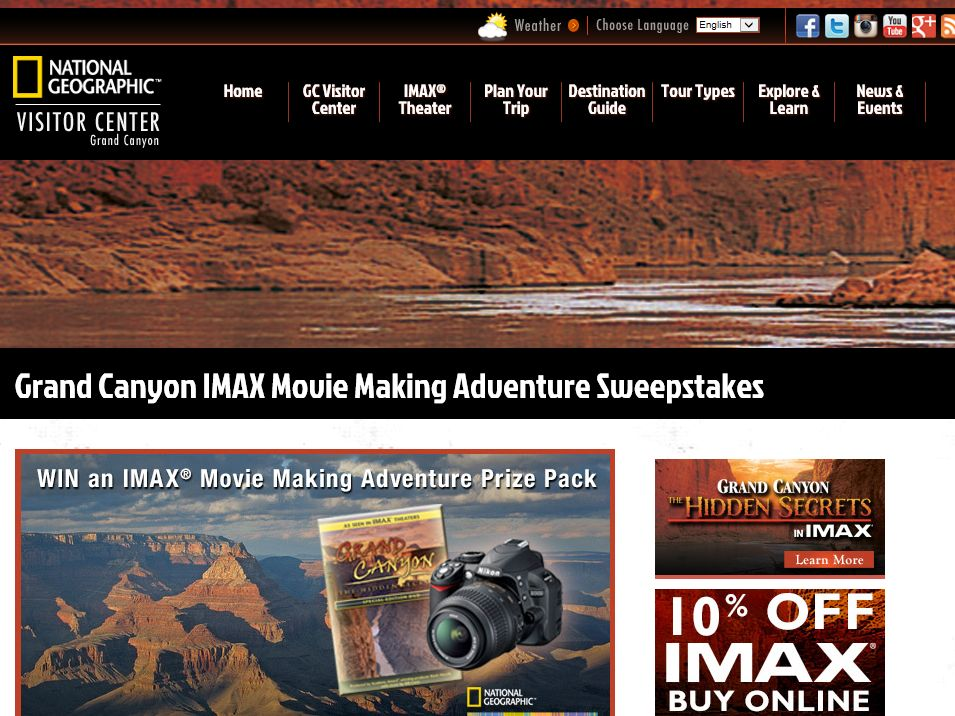 National Geographic Visitor Center,  IMAX prize Sweepstakes