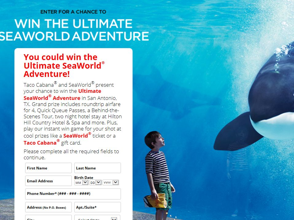 Taco Cabana & the Ultimate SeaWorld Adventure Sweepstakes – Limited States