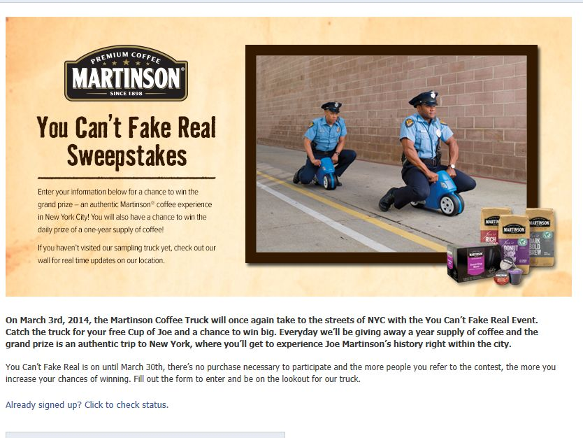 Martinson Coffee You Can't Fake Real 2014 Contest