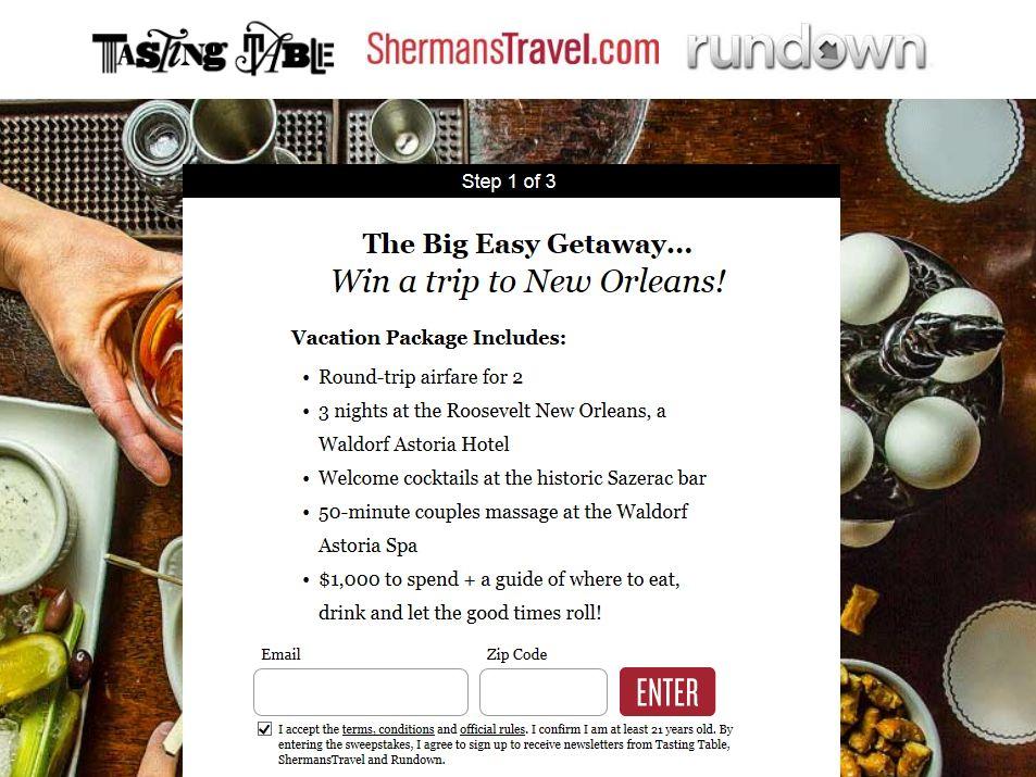 Tasting Table 2014 Big Easy Getaway Sweepstakes