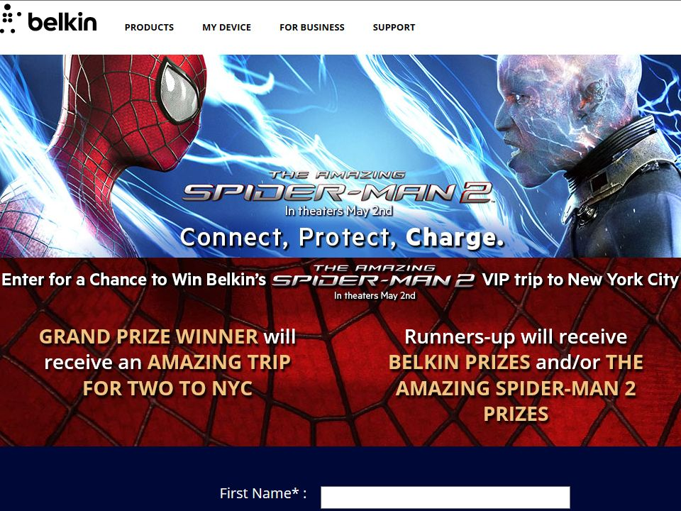 Belkin's The Amazing Spider-Man 2 VIP Trip to NYC Sweepstakes