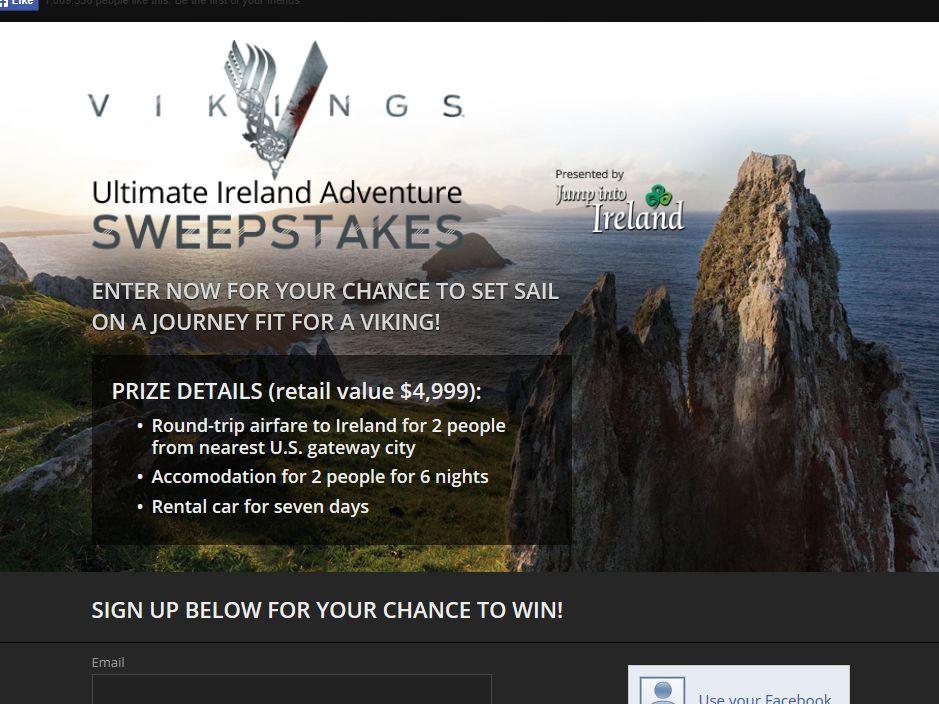 Vikings Ultimate Ireland Adventure Sweepstakes