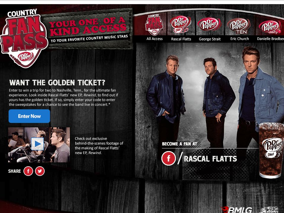 The Rascal Flatts Golden Ticket Game Sweepstakes – Code Required