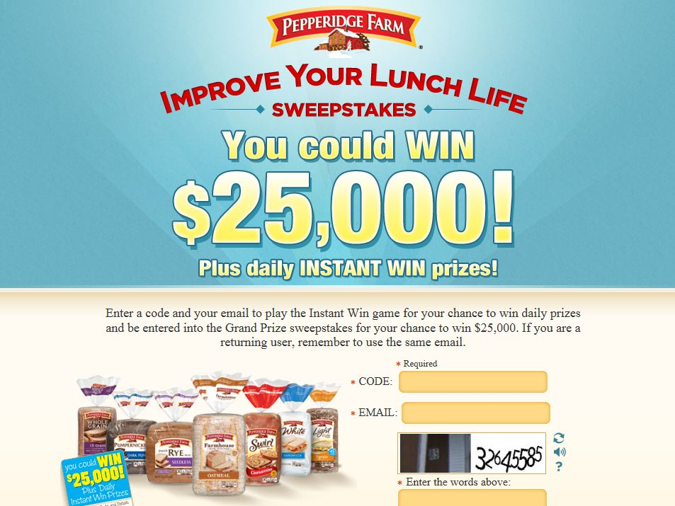 Pepperidge Farm Improve Your Lunch Life Sweepstakes
