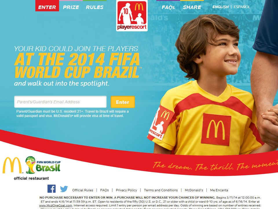 McDonald's Player Escort 2014 FIFA World Cup Brazil Sweepstakes
