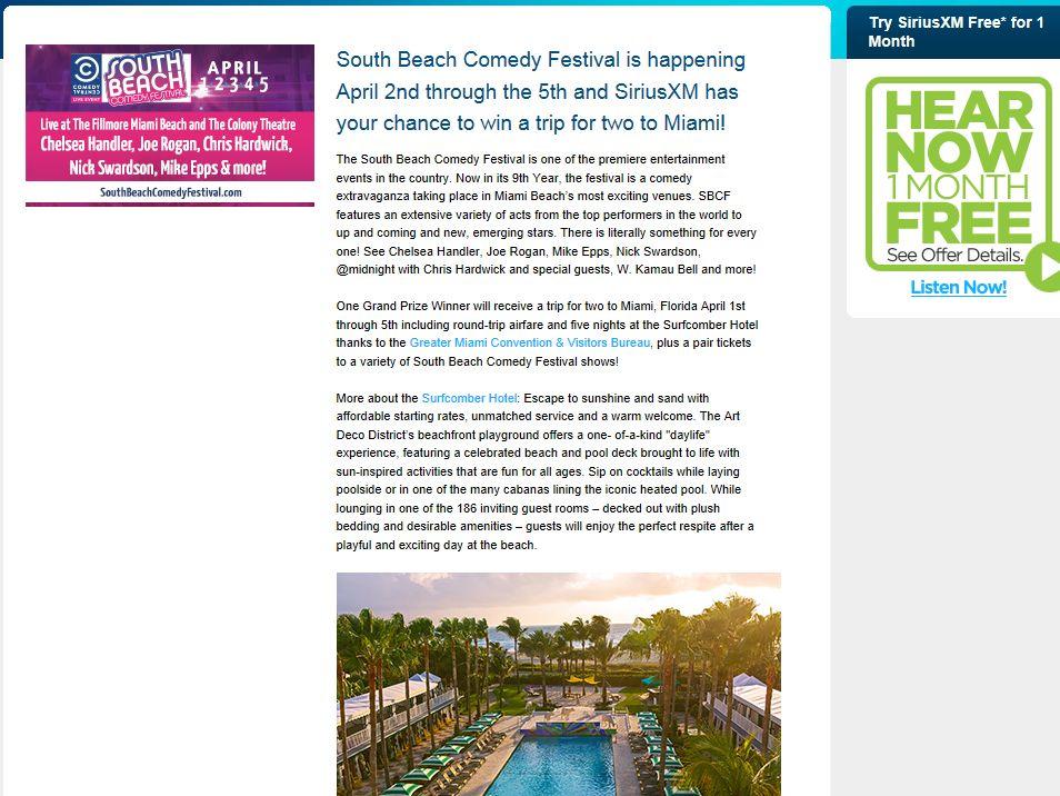 South Beach Comedy Festival 2014 SiriusXM Sweepstakes
