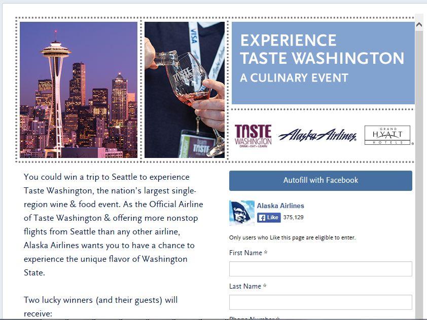 Alaska Airlines Taste Washington Sweepstakes