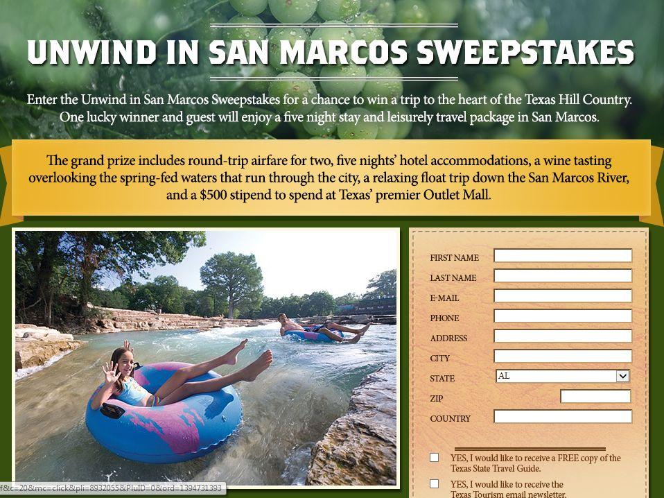 Unwind in San Marcos Sweepstakes