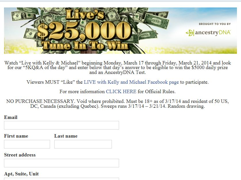 LIVE's $25,000 Tune-in-to-Win Sweepstakes