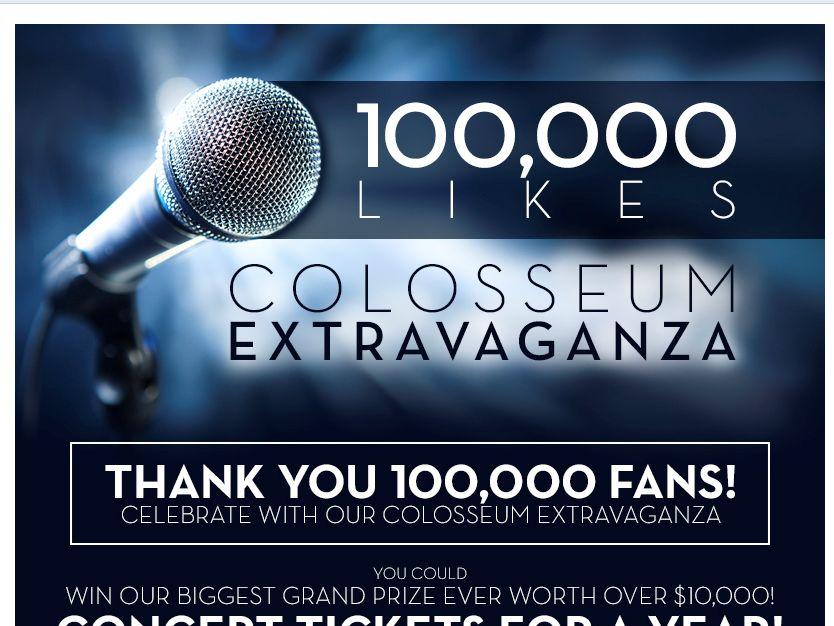 "Caesars Windsor's ""100,000 Likes Colosseum Extravaganza"" Contest"