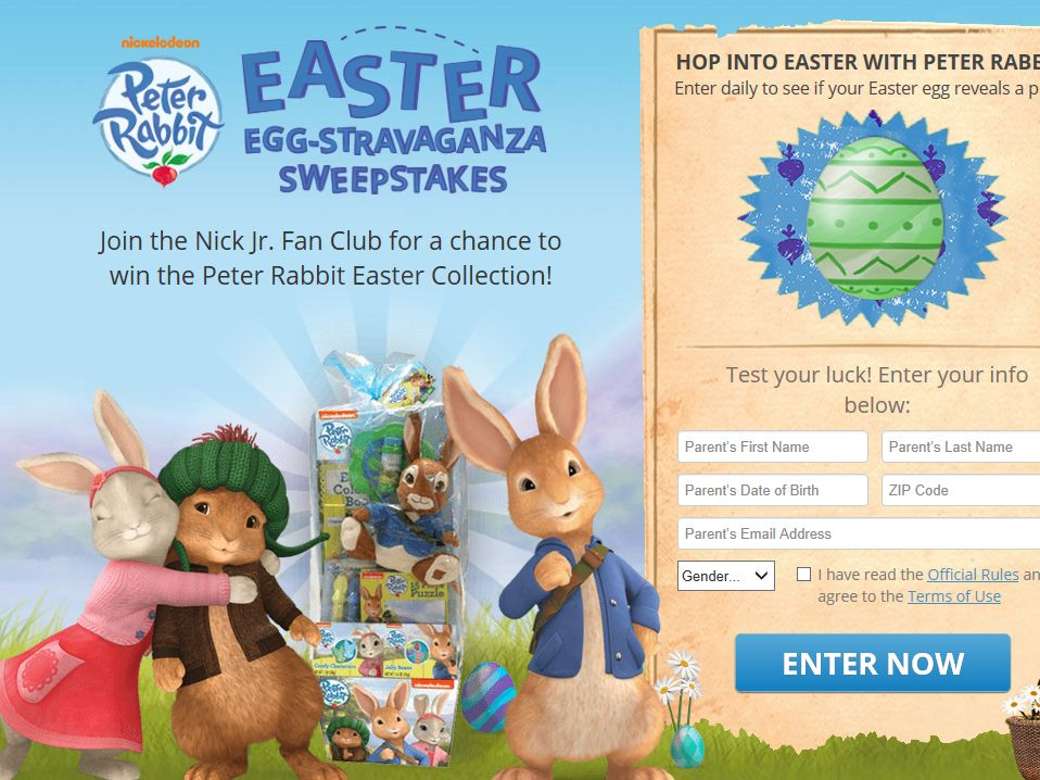 Nickelodeon's Peter Rabbit's Easter Egg-stravaganza Sweepstakes