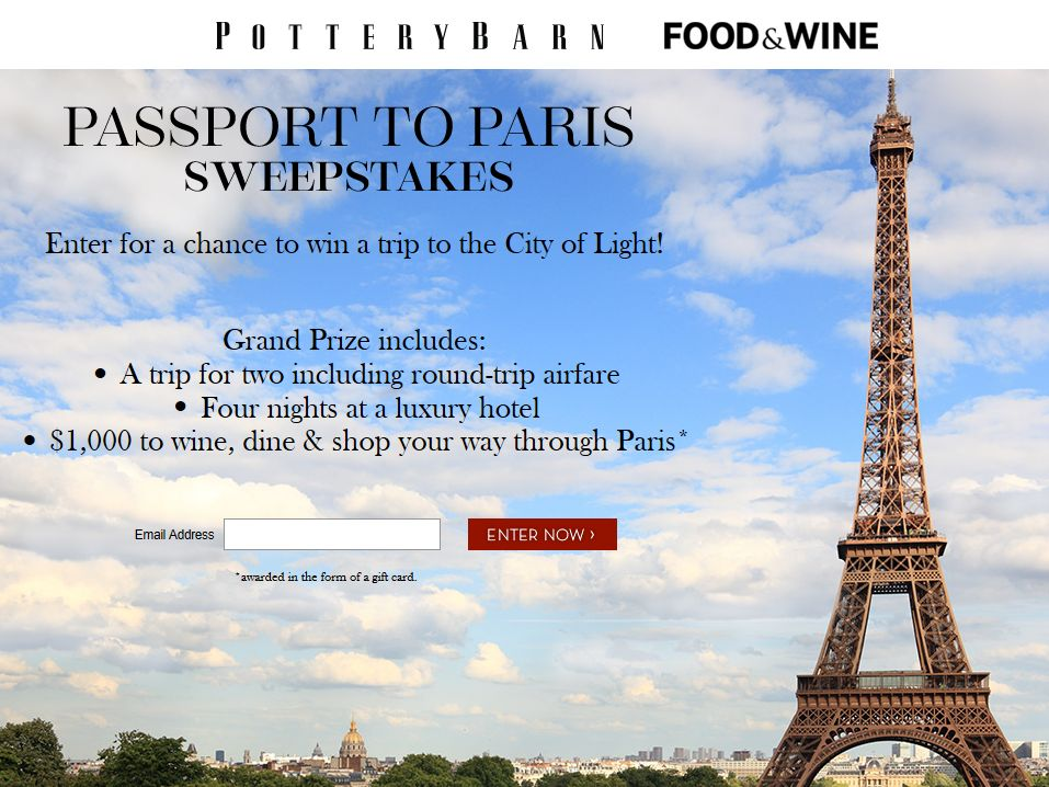 Pottery Barn Passport to Paris Sweepstakes