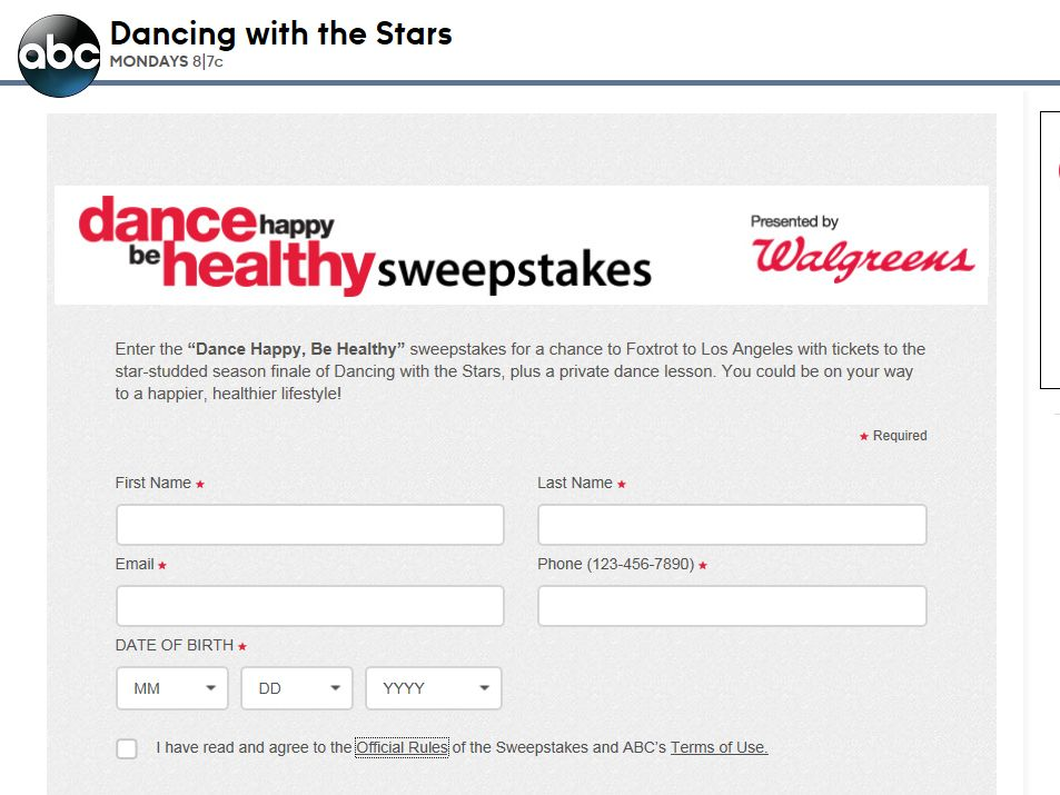 Dancing with the Stars Dance Happy, Be Healthy Sweepstakes