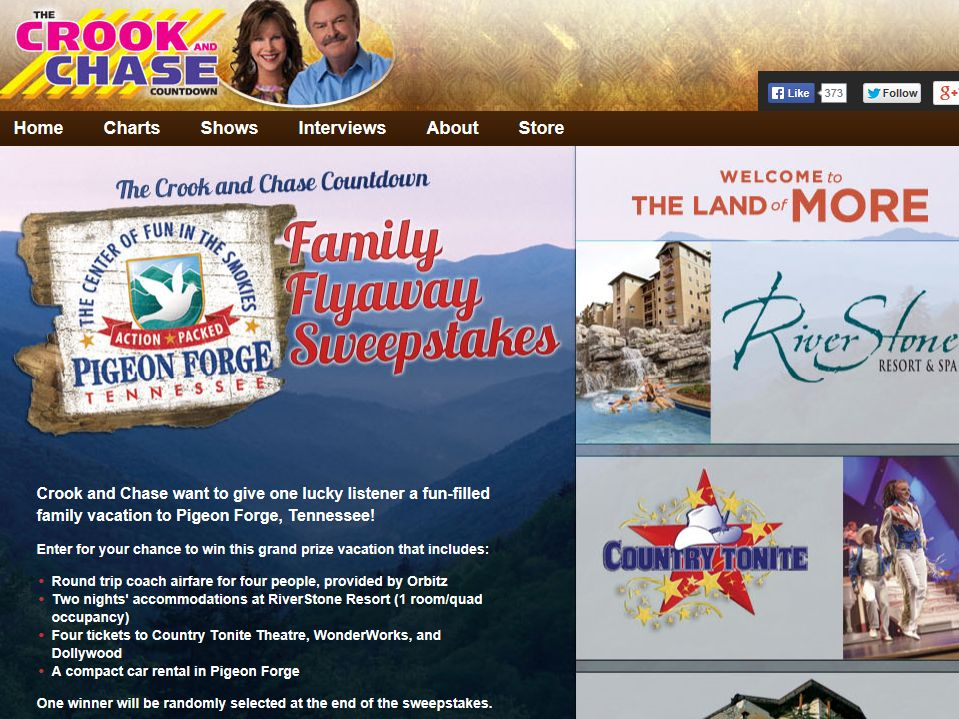 Crook & Chase's Pigeon Forge Family Flyaway Sweepstakes