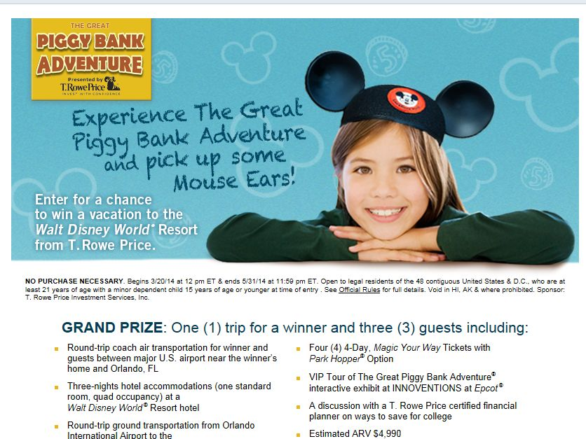 T. Rowe Price The Great Piggy Bank Sweepstakes
