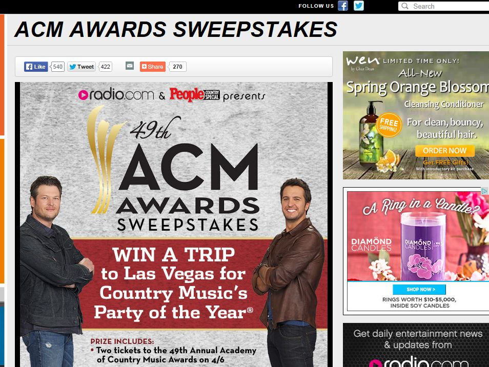 Academy of Country Music Awards Sweepstakes