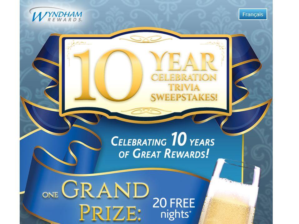 Wyndham Rewards 10 Year Celebration Trivia Sweepstakes