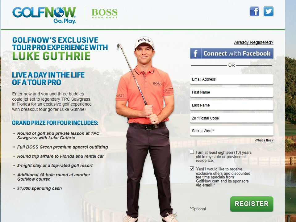 GolfNow's Exclusive Tour Pro Experience with Luke Guthrie Sweepstakes